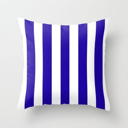 Neon blue - solid color - white vertical lines pattern Throw Pillow