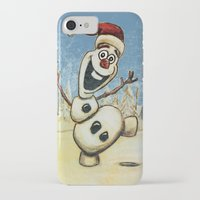 olaf iPhone & iPod Cases featuring Olaf Christmas Frozen by WimpyGeek Art