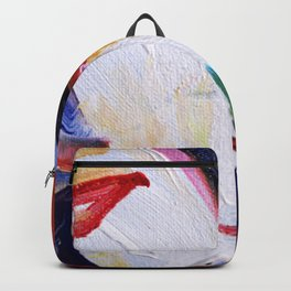 Colorful oil painting multi colors abstract background and texture Backpack