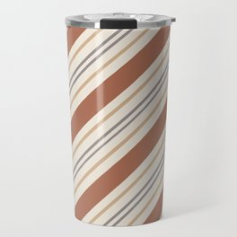 Cavern Clay SW 7701 and Accent Colors Thick and Thin Angled Lines Triple Stripes 1 Travel Mug