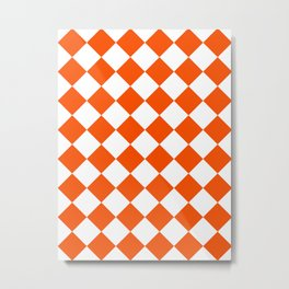 Large Diamonds - White and Dark Orange Metal Print