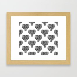 Elephants Pattern Framed Art Print