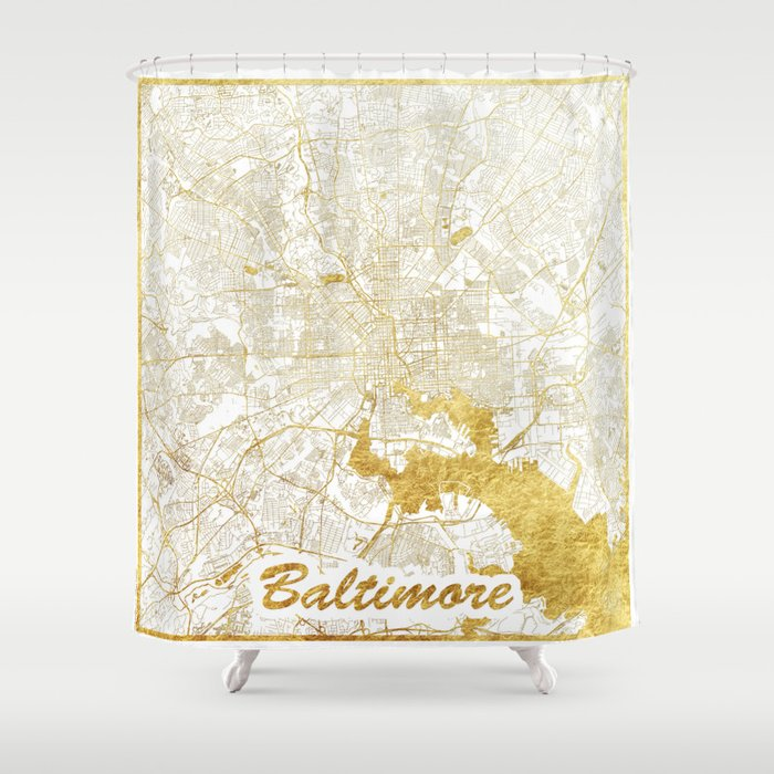 Baltimore Map Gold Shower Curtain by hubertroguski | Society6