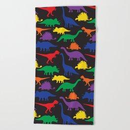 Dinosaurs - Black Beach Towel