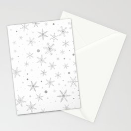 Twinkle Snowflake -Silver Grey & White- Stationery Cards