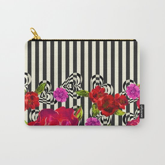 Flowers with Stripes and Hearts Carry-All Pouch