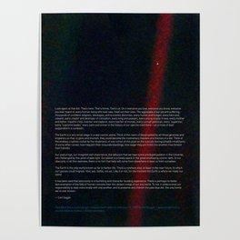 Pale Blue Dot - Voyager 1 & Carl Sagan quote Poster