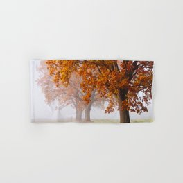 Oaks in the misty Autumn morning (Golden Polish Autumn) Hand & Bath Towel