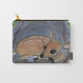 """Lost in the Woods"" A Deer and Hedgehog Portrait Carry-All Pouch"