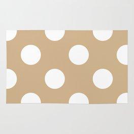 Large Polka Dots - White on Tan Brown Rug