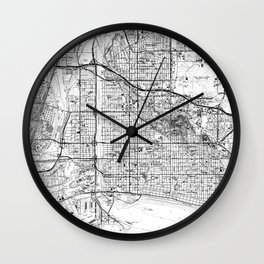 Vintage Map of Long Beach California (1964) BW Wall Clock