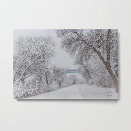 Winter, Missouri River, North Dakota Metal Print