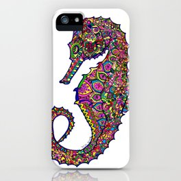 Seahorse colourful mandala iPhone Case