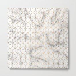 Gold Geometric Pattern on Marble Texture Metal Print