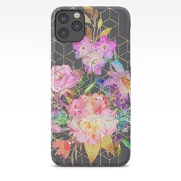 Modern watercolor floral and gold geometric cubes iPhone Case
