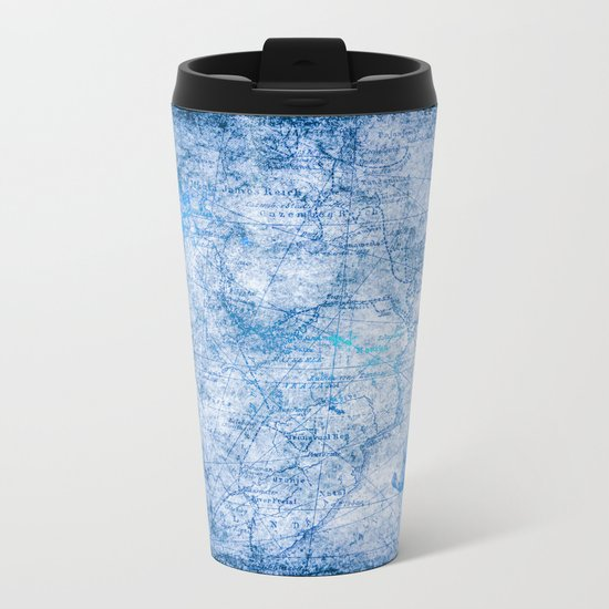 Blue Shimmer Map Design Metal Travel Mug