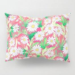 Sketchbook Daisies Coral Pillow Sham