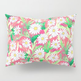 Sketchbook Daisies Coral Pillow Sham