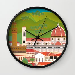 Florence, Italy - Skyline Illustration by Loose Petals Wall Clock