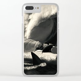 Sleeping with Sharks Black and White Clear iPhone Case