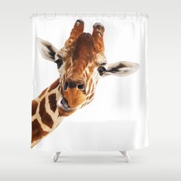 Giraffe Portrait // Wild Animal Cute Zoo Safari Madagascar Wildlife Nursery Decor Ideas Shower Curtain
