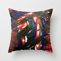 rave Throw Pillows featuring Rave by Myles Hunt