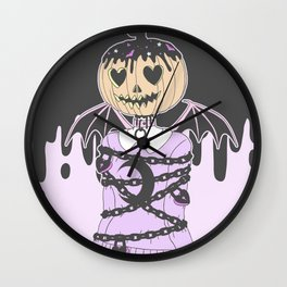 Pumpkin Ghoul Wall Clock