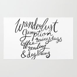 Wanderlust Words - Black Brush Lettering Rug