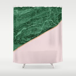 Green Marble with pink Shower Curtain