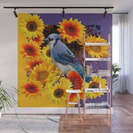 MODERN BLUE JAY &  SUNFLOWERS PURPLE ART Wall Mural