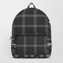 Wavy Plaid Pattern Bla and Grey Mandala Tile Backpack