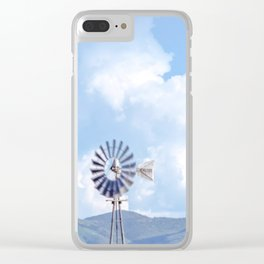 """Blue Windmill Blue Sky"" by Murray Bolesta Clear iPhone Case"