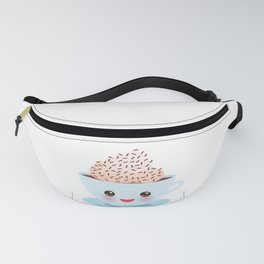 Cute blue Kawai cup, coffee with pink cheeks and winking eyes Fanny Pack