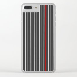 Grey Red stripes pattern Clear iPhone Case