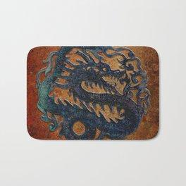 Blue Chinese Dragon on Stone Background Bath Mat