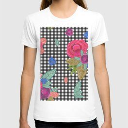 Plaid pattern with purple, pink flowers tropical leaves pattern T-shirt