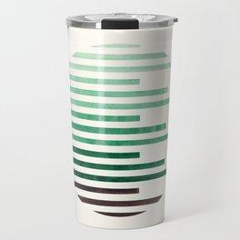 Mid Century Modern Minimalist Circle Round Photo Aquamarine Teal Green Staggered Stripe Pattern Travel Mug