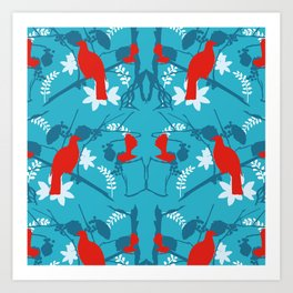 NZ Native Red Kereru (Wood Pigeon) and Fantail on Blue Art Print