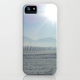 the sun meets the snow iPhone Case