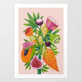 Exotic Fruits, Tropical Plants on Pink Background Art Print