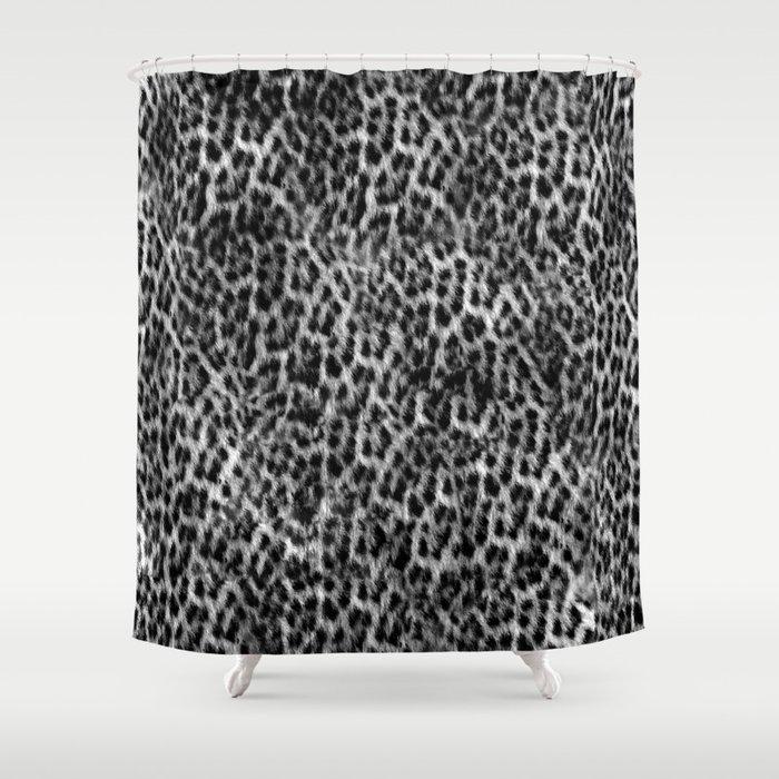 Cheetah Fur Texture - Black and White Shower Curtain