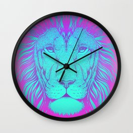 Majestic Soul (Neon Lion) Wall Clock