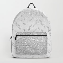 Modern faux grey silver glitter ombre chevron geometric stitches pattern Backpack