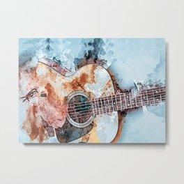 Guitar Watercolor Guitar Art Metal Print