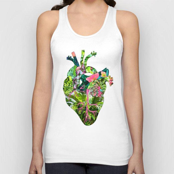 Botanical Heart Pink Unisex Tanktop