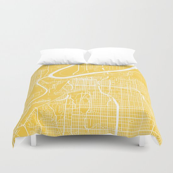 Kansas City map yellow Duvet Cover