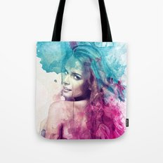 Woman in Splash of Watercolor Tote Bag
