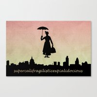mary poppins Canvas Prints featuring mary poppins by cubik rubik