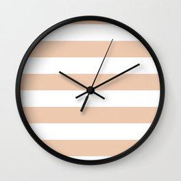 Horizontal Stripes - White and Desert Sand Orange Wall Clock