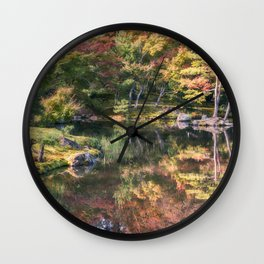 Japanese Garden, colorful in autumn in Kyoto. Wall Clock
